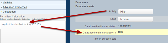 """To use a Database field in an if/then equation you first need to take just the name of the field by using a """"split"""" function"""