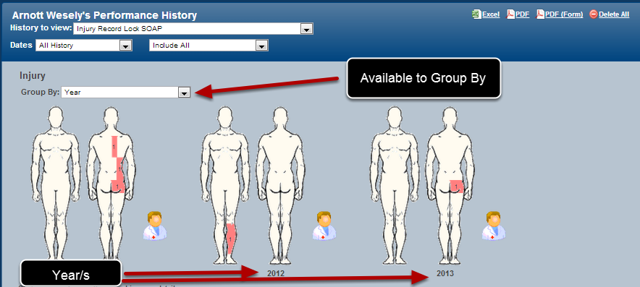 This will calculate out year to appear in the athlete history and reports. It can also be used to group data in a body diagram (as shown here).