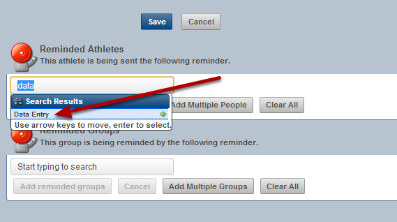 #10: Select the athlete and add them one at a time, or add in a group of athletes