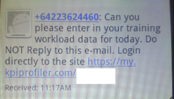 How the reminder appears if it was sent via SMS (Text Message).