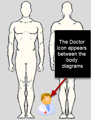 The OSICS Body Diagram with Medical Image fits within the screen width on the iPad view