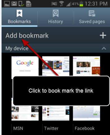 "Click on ""Add bookmark"""