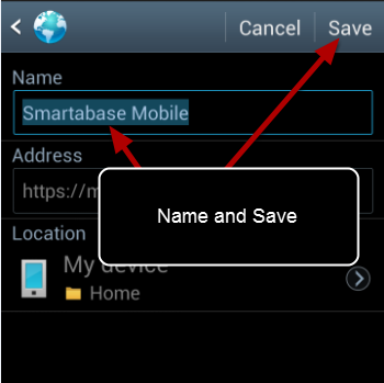 Name the Bookmark e.g. Smartabase App, and Save it.