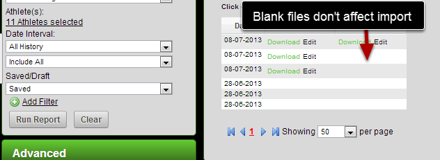 You can export out file uploads and import them back into the system accurately if there is a blank file field.