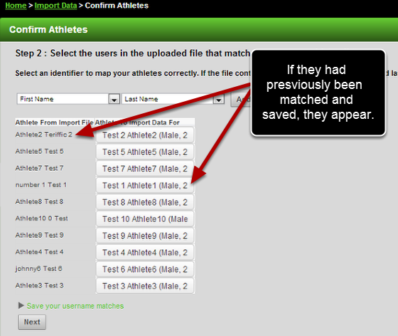 Now when you apply a saved username match, the identifiers and the athlete matches appear correctly.