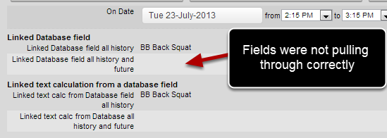 Linked fields set to pull through all history and future were not pulling through any data. This has been resolved.