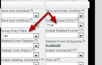 "Users can enable the ""Group Entry Tabs"" in the Form's Advanced Properties so each section appears to enter separately in group entry mode (shown in the image in the following step)"
