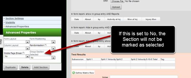 """Now you can set a section to not appear during Group Entry Mode until it is selected using the """"Group Section Selected"""". Set this up in the Section's Advanced Properties."""