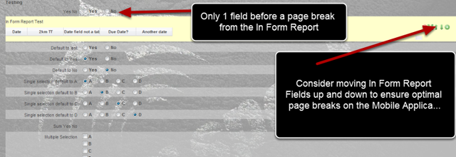Remember to change the order of fields to ensure the Inform Report appears at the start or the end of a section to ensure the least amount of page breaks