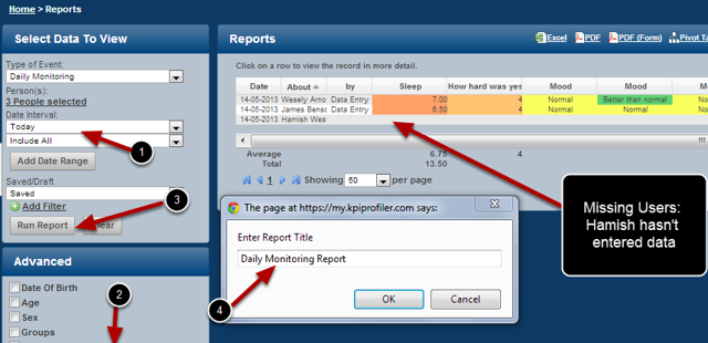 You can now set up a report for a group of athletes, tick the missing users button and save it as a front page report to show all daily monitoring entries entered on the day you view the report