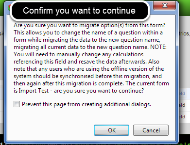 "Confirm that you understand what changes will occur by clicking ""OK"""