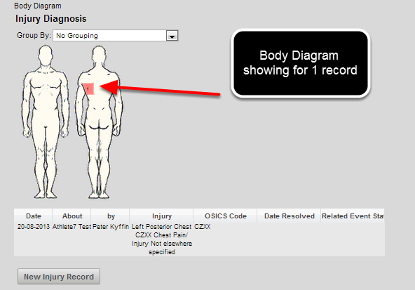 The body diagram now appears when there is 1 or more Medical/Injury records