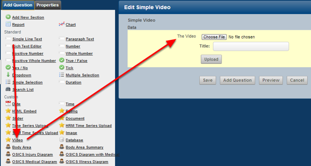 The example here shows that a Video Field has been added into the Event Form.