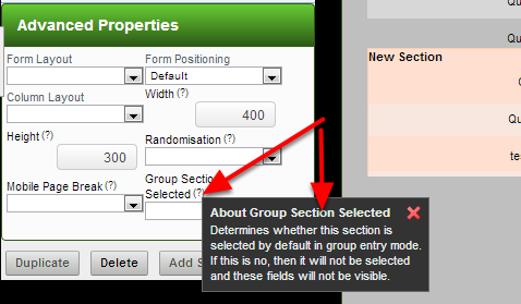 """The """"Group Section Selected"""" now has a tool tip explaining what this property does"""