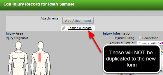 Form Attachments are not duplicated. However, File Uploads and Images Uploads in the form will be.