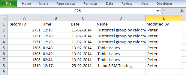 The example here shows a list of the Event Forms that have been created/opened and/or modified/viewed