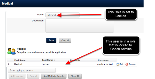 If a User is in a Role that is set to Admin Locked, then a Coach Admin cannot edit their account details