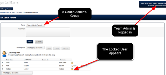 When a Coach Admin Logs in to the Administration Site, they can see the users in the Groups they Administer