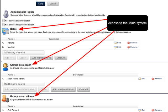 When a Site Administrator adds a user into the system they assign Role and Group Access to specify what they can access on the main application