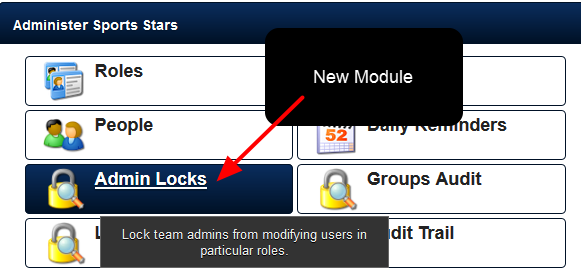 New Admin Locks Module: A Site Administrator can lock specific Roles so that a Coach Admin cannot edit the account details of a user in a Locked Role