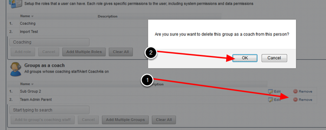 To remove a Group or Role, click on Remove for the correct Group or Role
