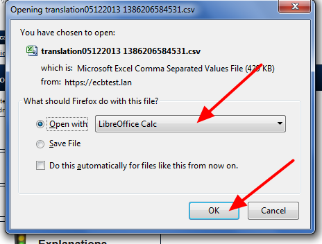 From the downloads list, open it in Libre Office Calc ONLY (as you would have done when you created the file)
