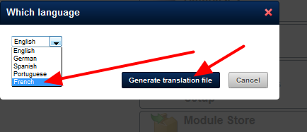Click on the Language that you need (e.g. French) and generate the file