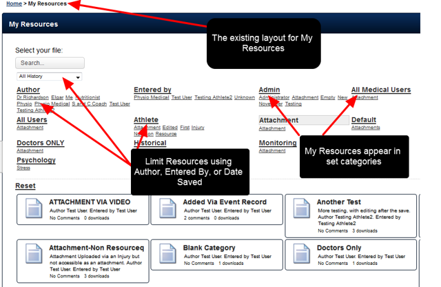 The way users access and search through Resources stored in this Module has been enhanced. The current Legacy view shows that Main category, Subcategories, Author and Entered be can be used as filters to locate files