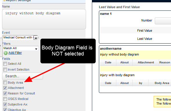 If an In Form Report was created using an Event Form with a Body Diagram in it (e.g. a Medical Record) and the body diagram field was not ticked to be included, it would still appear above the In Form Report
