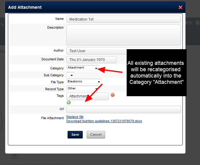 "All of the existing historical Attachments for an Event form will be automatically categorised into an ""Attachment"" Category"