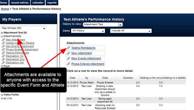 Currently, all Attachments uploaded into an Event Form are available via the Sidebar and Athlete History for anyone with access to the Event Form and the Athlete