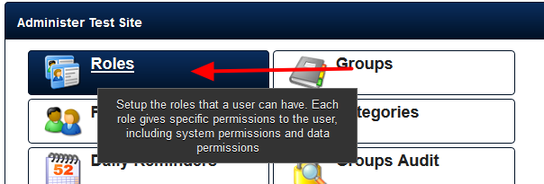 Assigning access to a Category is completed on a Role by Role basis on the Administration Site