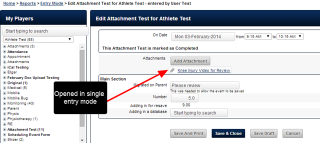 Alternatively, the entry can be opened for any of the individual athletes, and the attachment appears as well.