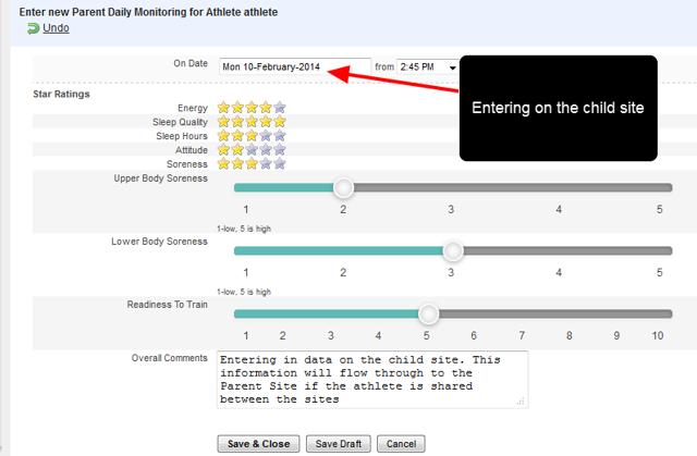 If the athlete is shared between the Child site and the Parent Site, the Data will appear in both sites when saved