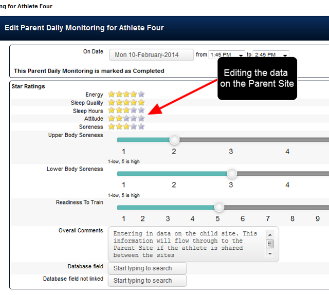 The data can be edited and saved on the Parent Site and these edits flow between the two sites