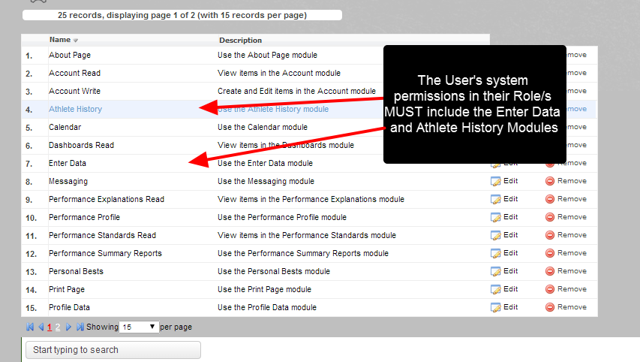 The user MUST have the Athlete History Module and the Enter Data Module as part of one of their Role/s