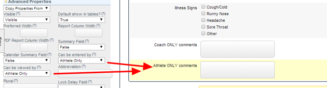 Athlete Only field example