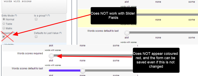 "The Slider Fields do NOT adhere to the ""Required"" setting"