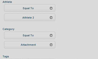 The example here shows a search for a specific athlete, based on the Attachment Category