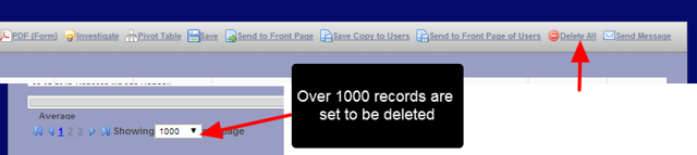 You can delete multiple records a once. However, this does take time depending on the size of the Form and the number of records