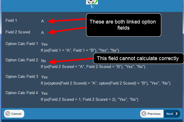 The example here shows that the calculation set up to treat a scored linked option as an option again fails to work