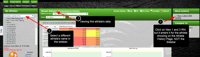 Previously, if you were viewing an athlete on the Athlete History Page, you could select a different athlete on the sidebar, but the Athlete History would not change