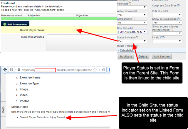 A Linked Event Form with a Status Indicator Field will be applied to both sites