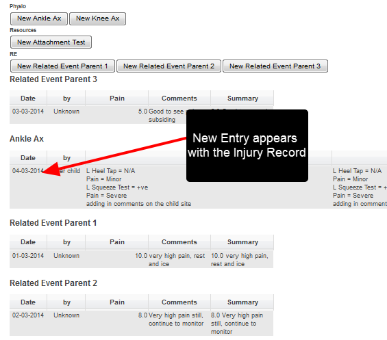 This entry is shown as a related event with the Injury Record, and any associated Related Events summaries are pulled through