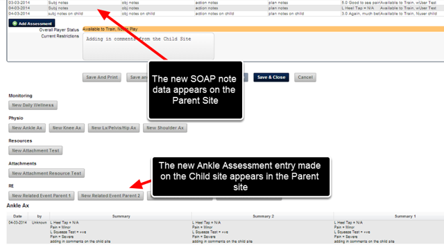 Any Event Form changes, or Related Events entered on the Child site will appear on the Parent Site and vice versa.