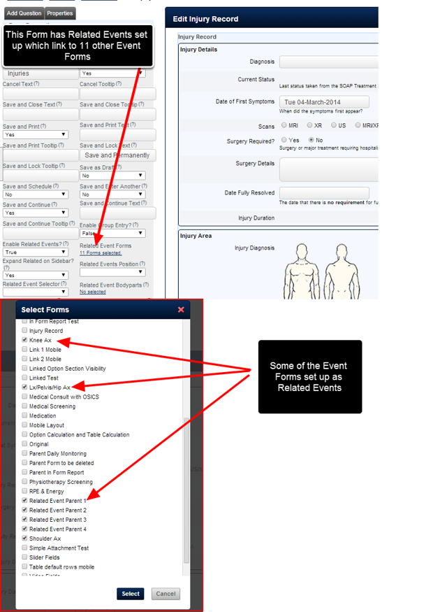 In this Event Form there are Related Events which reference different Event Forms on the Parent Site