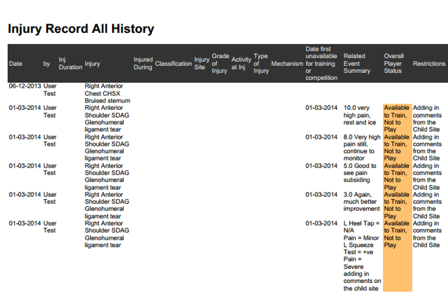 """The """"PDF"""" will display the History Data in a Table; which will always show in Landscape"""