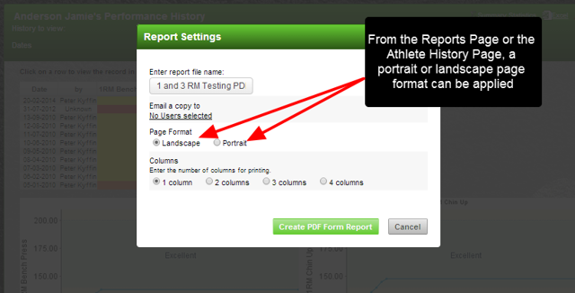 The ability to generate the PDF(form) in Landscape or Portrait from the Athlete History and Reports pages is now available