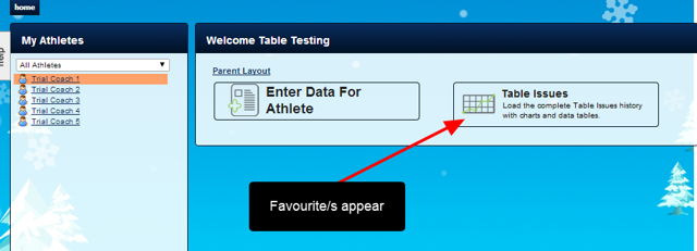 Once the athlete can access the Athlete History their Favourites Event Form/s will appear