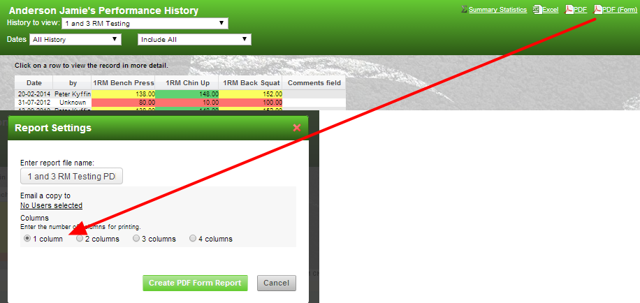Previously, you could only generate a PDF(form) on the athlete history and it would always default to landscape view